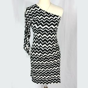 INC International Zig Zag One Shoulder Mini Dress